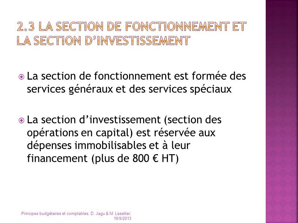 La section de fonctionnement est formée des services généraux et des services spéciaux La section dinvestissement (section des opérations en capital)