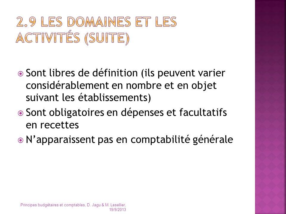 Sont libres de définition (ils peuvent varier considérablement en nombre et en objet suivant les établissements) Sont obligatoires en dépenses et facu