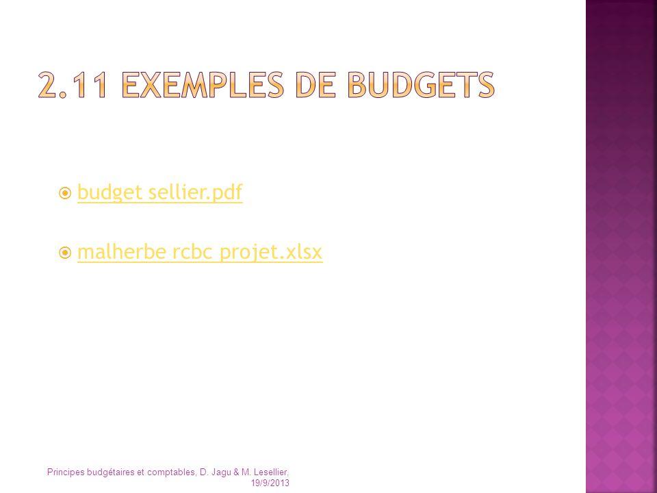 budget sellier.pdf malherbe rcbc projet.xlsx Principes budgétaires et comptables, D. Jagu & M. Lesellier, 19/9/2013