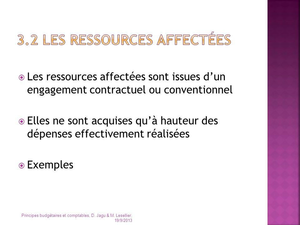 Les ressources affectées sont issues dun engagement contractuel ou conventionnel Elles ne sont acquises quà hauteur des dépenses effectivement réalisé