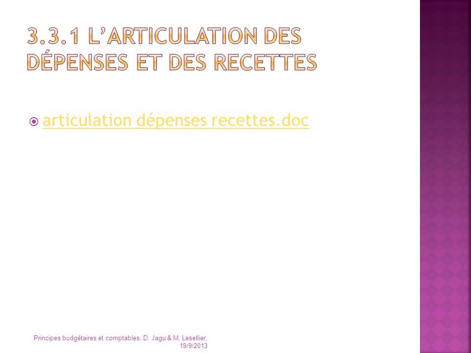 articulation dépenses recettes.doc Principes budgétaires et comptables, D. Jagu & M. Lesellier, 19/9/2013