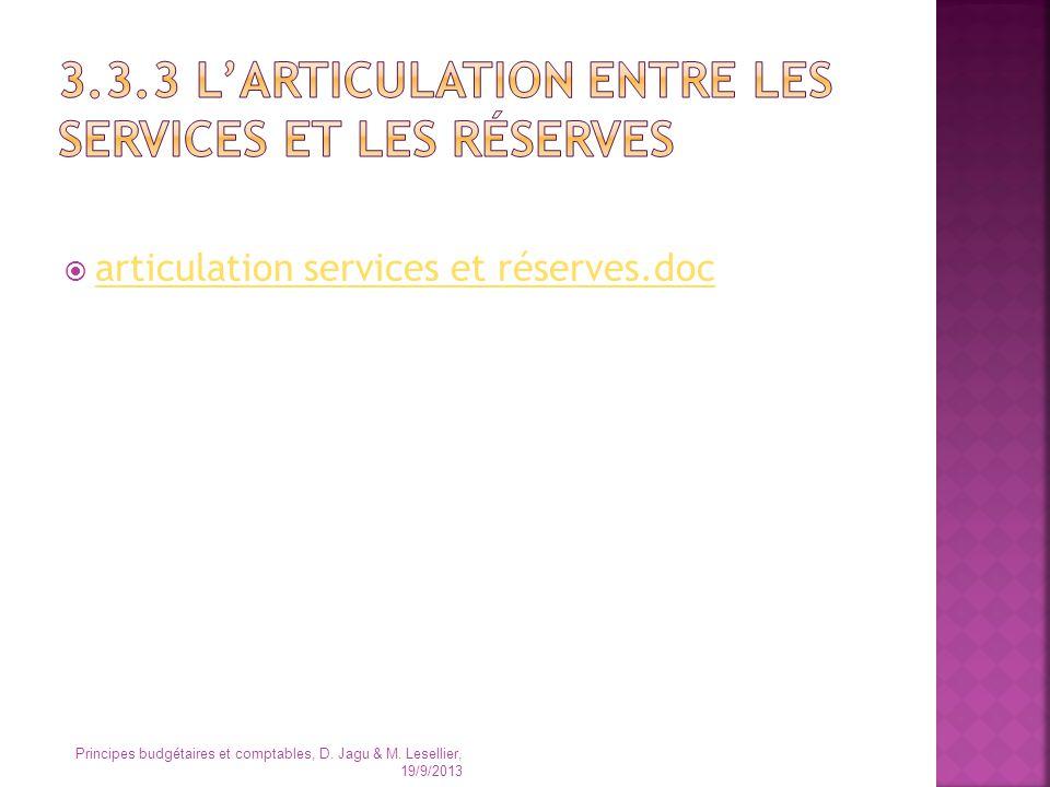 articulation services et réserves.doc Principes budgétaires et comptables, D. Jagu & M. Lesellier, 19/9/2013