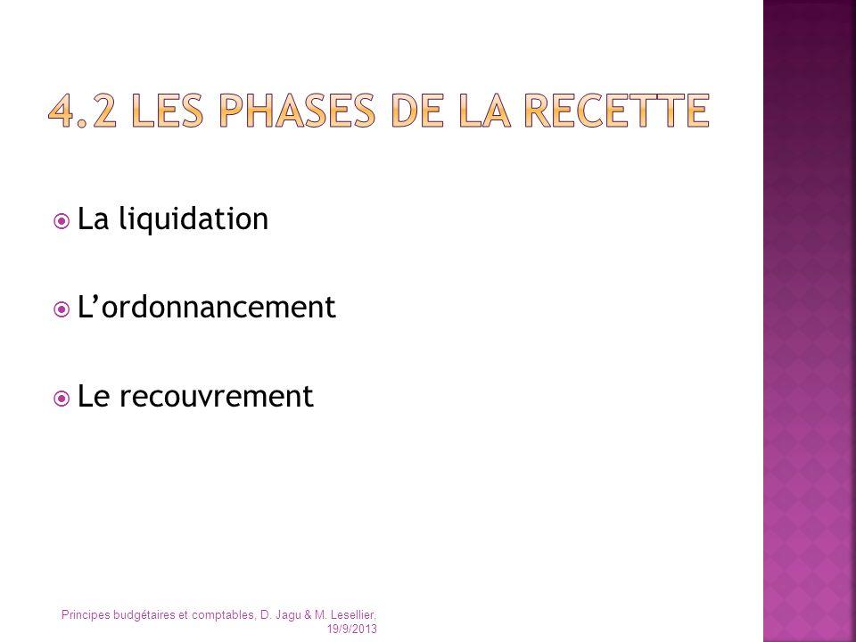 La liquidation Lordonnancement Le recouvrement Principes budgétaires et comptables, D. Jagu & M. Lesellier, 19/9/2013