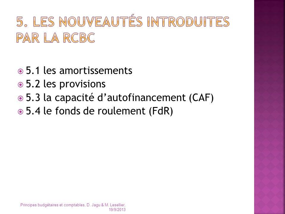 5.1 les amortissements 5.2 les provisions 5.3 la capacité dautofinancement (CAF) 5.4 le fonds de roulement (FdR) Principes budgétaires et comptables,