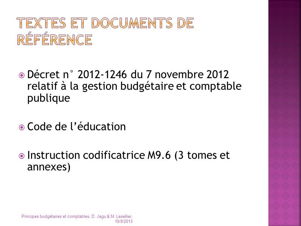 Décret n° 2012-1246 du 7 novembre 2012 relatif à la gestion budgétaire et comptable publique Code de léducation Instruction codificatrice M9.6 (3 tome