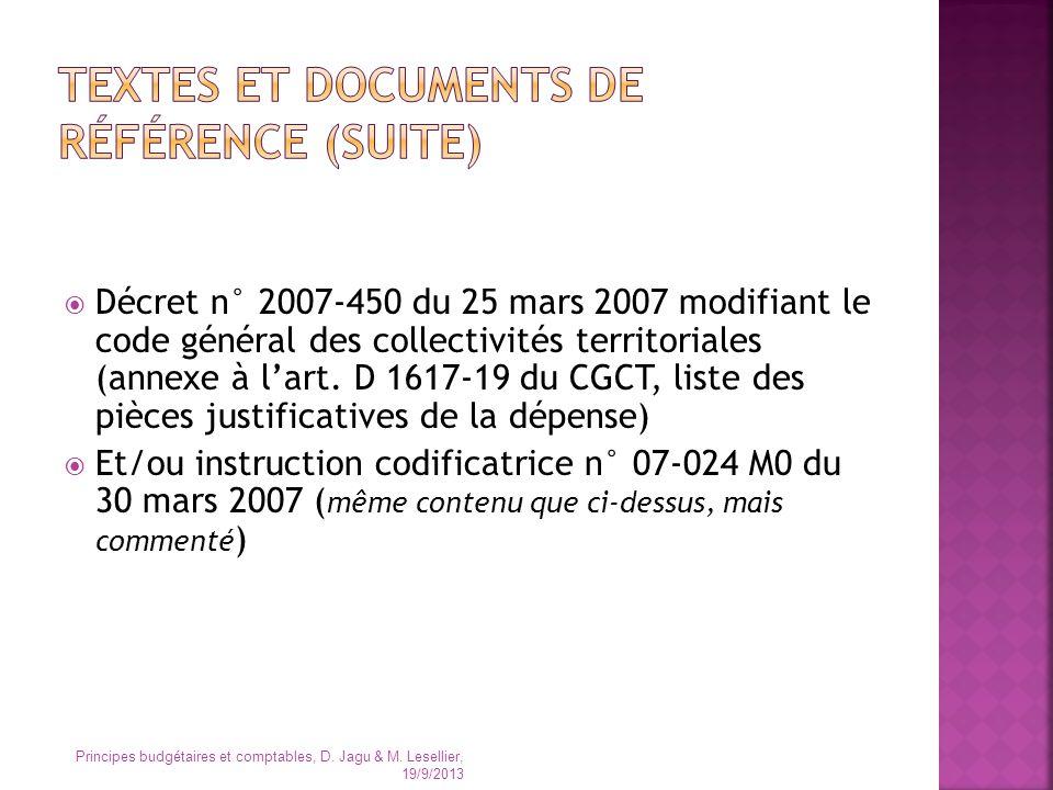 Décret n° 2007-450 du 25 mars 2007 modifiant le code général des collectivités territoriales (annexe à lart. D 1617-19 du CGCT, liste des pièces justi