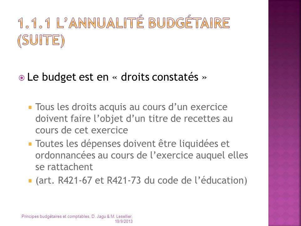 Le budget est en « droits constatés » Tous les droits acquis au cours dun exercice doivent faire lobjet dun titre de recettes au cours de cet exercice