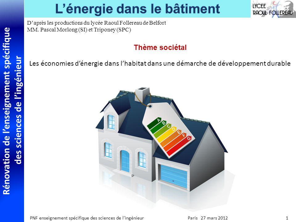 Rénovation de lenseignement spécifique des sciences de lingénieur PNF enseignement spécifique des sciences de lingénieur Paris 27 mars 2012 1 Daprès l