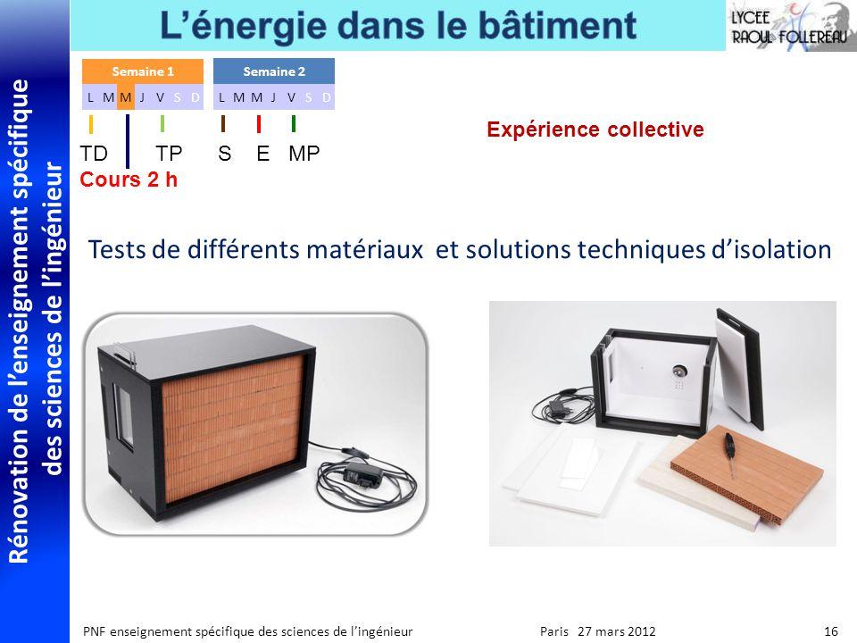 Rénovation de lenseignement spécifique des sciences de lingénieur PNF enseignement spécifique des sciences de lingénieur Paris 27 mars 2012 16 Expérie