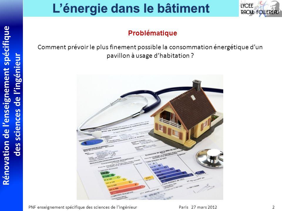 Rénovation de lenseignement spécifique des sciences de lingénieur PNF enseignement spécifique des sciences de lingénieur Paris 27 mars 2012 2 Probléma