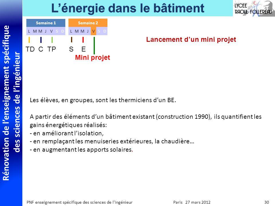 Rénovation de lenseignement spécifique des sciences de lingénieur PNF enseignement spécifique des sciences de lingénieur Paris 27 mars 2012 30 Les élè