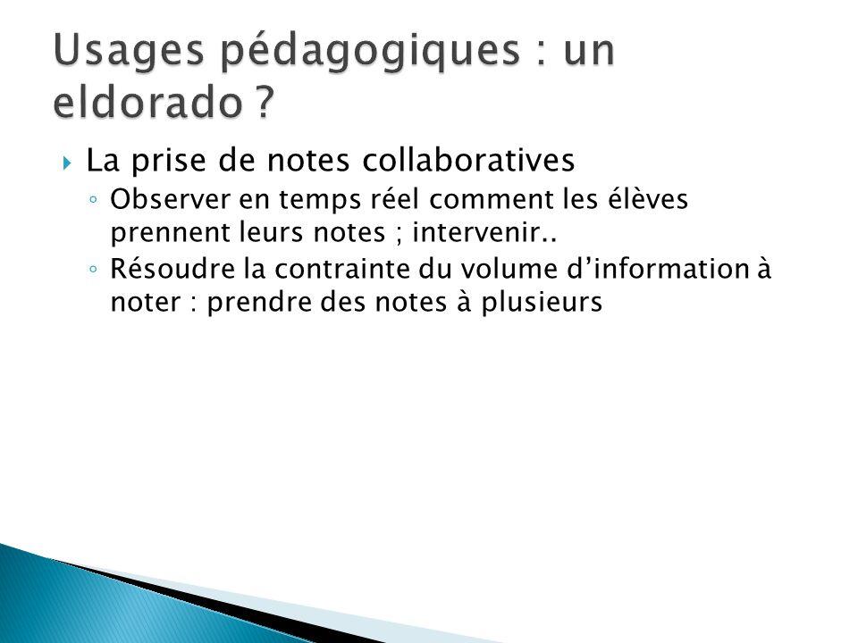 La prise de notes collaboratives Observer en temps réel comment les élèves prennent leurs notes ; intervenir.. Résoudre la contrainte du volume dinfor
