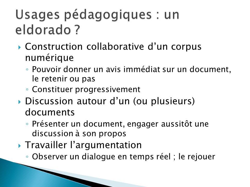 Construction collaborative dun corpus numérique Pouvoir donner un avis immédiat sur un document, le retenir ou pas Constituer progressivement Discussi