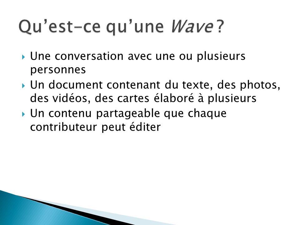 Une conversation avec une ou plusieurs personnes Un document contenant du texte, des photos, des vidéos, des cartes élaboré à plusieurs Un contenu par