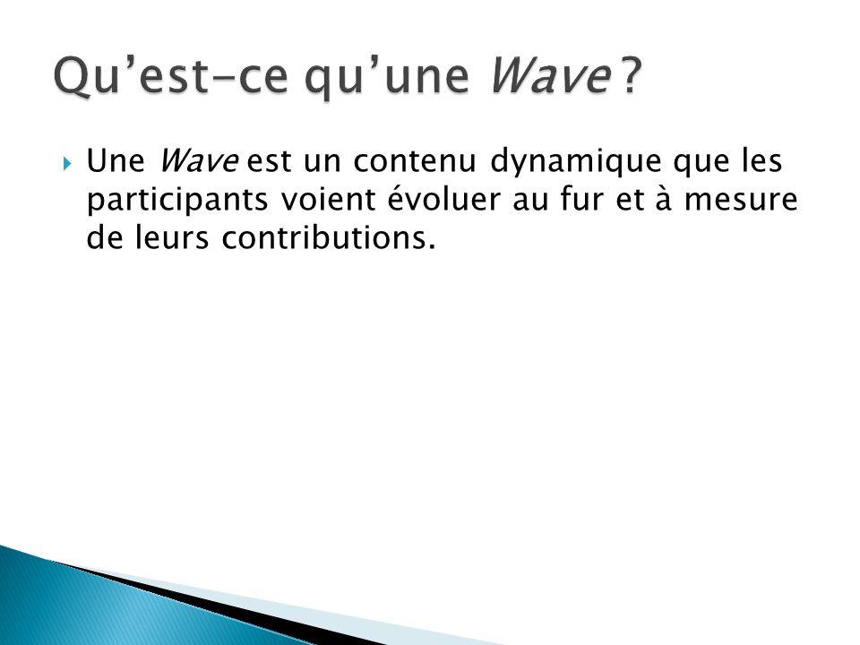 Une Wave est un contenu dynamique que les participants voient évoluer au fur et à mesure de leurs contributions.