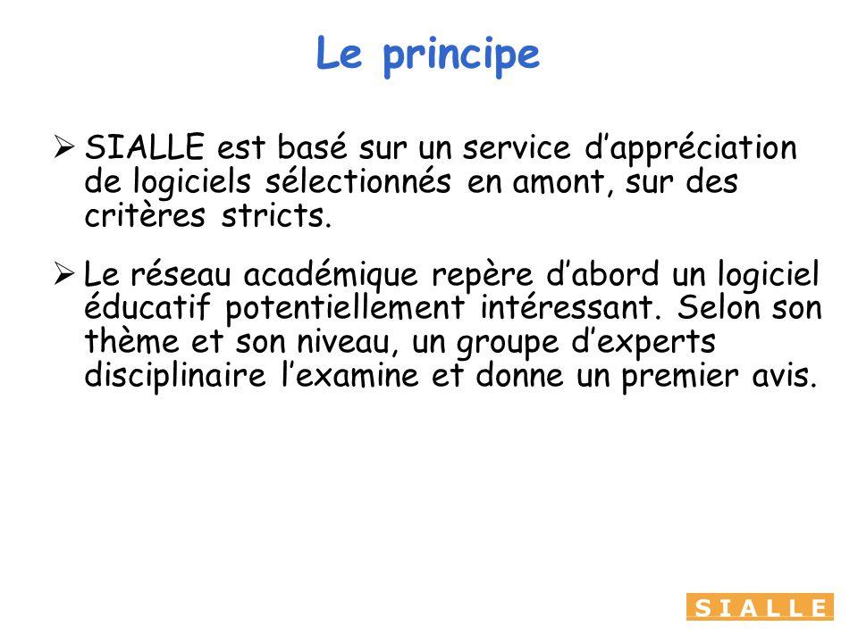 Le principe SIALLE est basé sur un service dappréciation de logiciels sélectionnés en amont, sur des critères stricts.