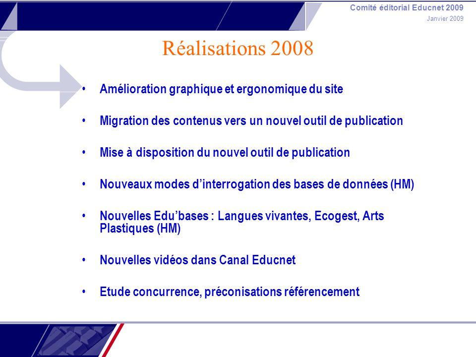 Comité éditorial Educnet 2009 Janvier 2009 Réalisations 2008 Amélioration graphique et ergonomique du site Migration des contenus vers un nouvel outil