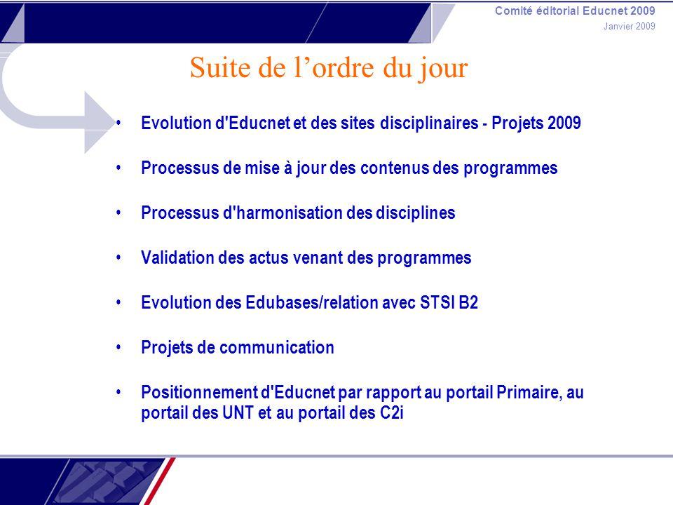 Comité éditorial Educnet 2009 Janvier 2009 Suite de lordre du jour Evolution d'Educnet et des sites disciplinaires - Projets 2009 Processus de mise à