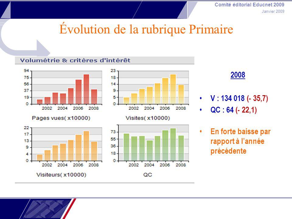 Comité éditorial Educnet 2009 Janvier 2009 Évolution de la rubrique Primaire 2008 V : 134 018 (- 35,7) QC : 64 (- 22,1) En forte baisse par rapport à lannée précédente