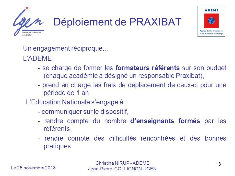 Déploiement de PRAXIBAT Un engagement réciproque… LADEME : - se charge de former les formateurs référents sur son budget (chaque académie a désigné un