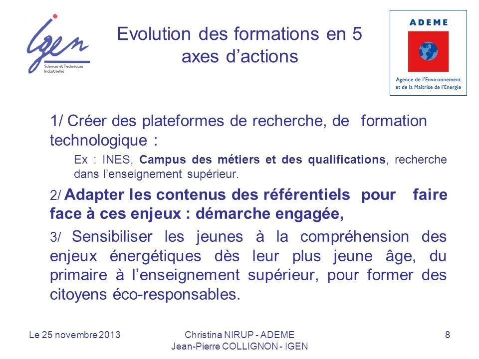 Evolution des formations en 5 axes dactions 1/ Créer des plateformes de recherche, de formation technologique : Ex : INES, Campus des métiers et des q