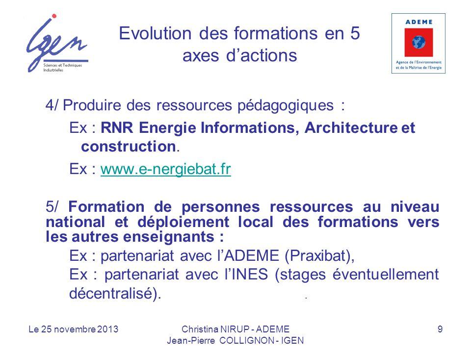 Evolution des formations en 5 axes dactions 4/ Produire des ressources pédagogiques : Ex : RNR Energie Informations, Architecture et construction. Ex