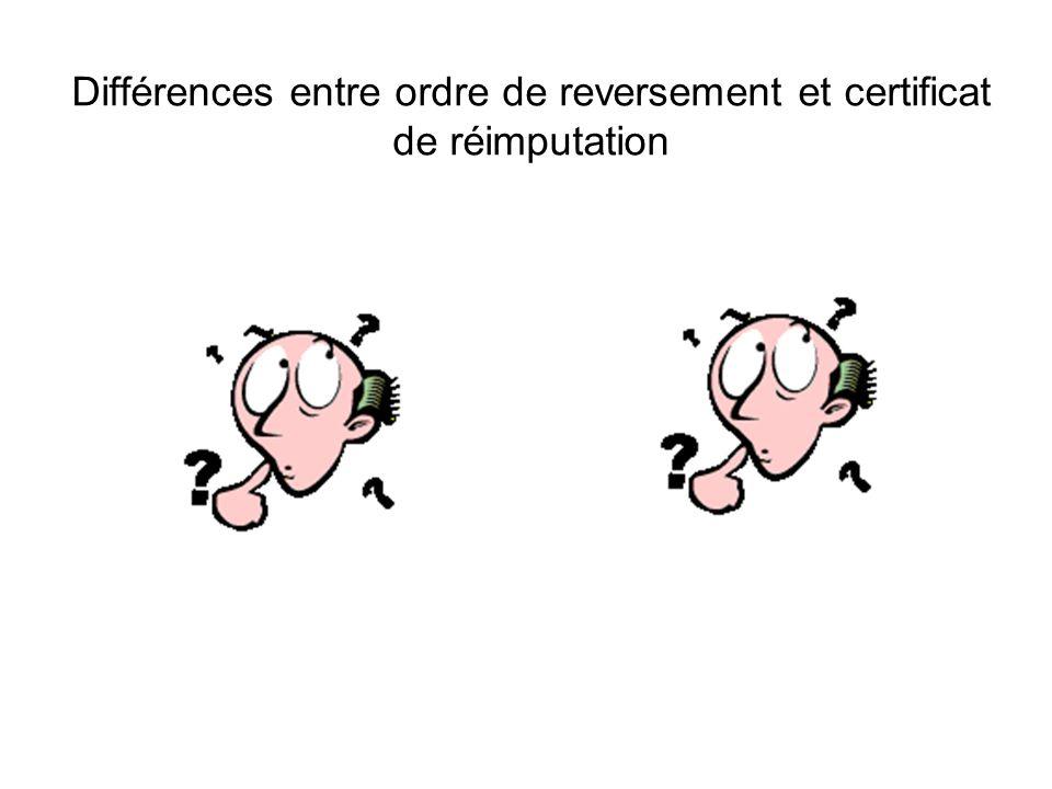 Différences entre ordre de reversement et certificat de réimputation