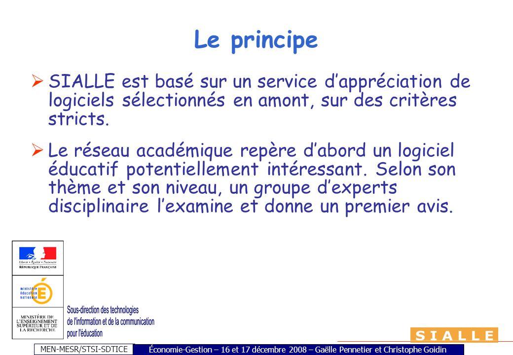 MEN-MESR/STSI-SDTICE Le principe SIALLE est basé sur un service dappréciation de logiciels sélectionnés en amont, sur des critères stricts. Le réseau