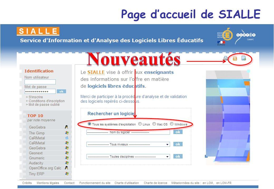 MEN-MESR/STSI-SDTICE 8 Page daccueil de SIALLE Économie-Gestion – 16 et 17 décembre 2008 - Gaëlle Pennetier et Christophe Goidin