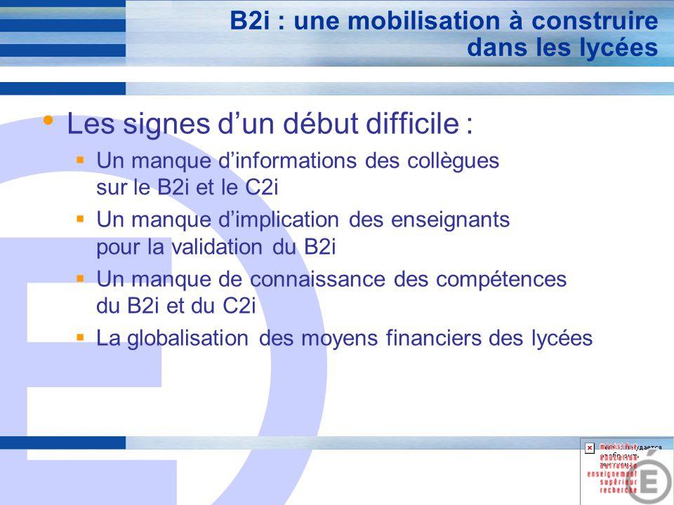 E 3 B2i : une mobilisation à construire dans les lycées Les signes dun début difficile : Un manque dinformations des collègues sur le B2i et le C2i Un