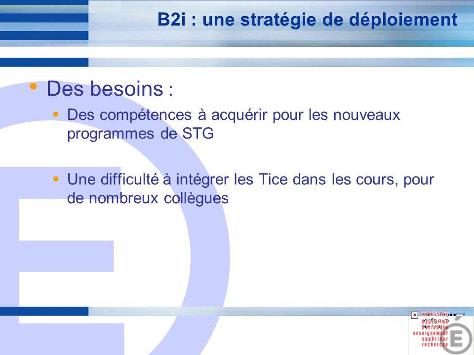 E 5 B2i : une stratégie de déploiement Des objectifs : Mieux connaître et utiliser les compétences informatiques des enseignants Mieux cerner les besoins et les souhaits de formations en informatique Diffuser les items du B2i