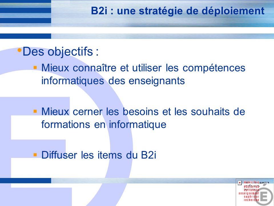E 6 B2i : une stratégie de déploiement Une méthode : U tiliser les items du B2i pour structurer les compétences enseignantes … connaître les compétences connaître les besoins de formation et y répondre connaître les capacités de validation …autour des compétences à faire acquérir aux élèves