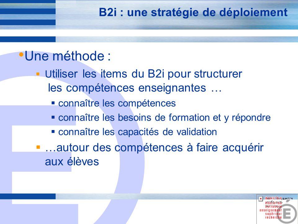 E 7 B2i : Une démarche et un outil Une démarche : Administrer un questionnaire sur la maitrise des compétences du B2i, par item : formateur maitrise demande de formation Un outil : Une base de données pour gérer les besoins de formations, les compétences, et les formations, au sein de chaque établissement