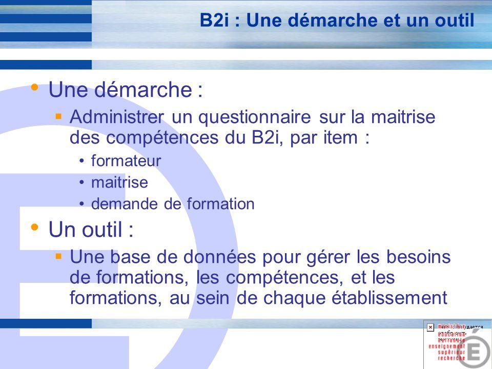 E 7 B2i : Une démarche et un outil Une démarche : Administrer un questionnaire sur la maitrise des compétences du B2i, par item : formateur maitrise d