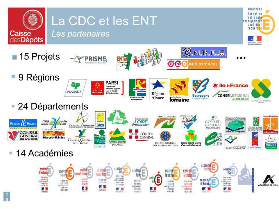 13 La CDC et les ENT Les partenaires 15 Projets 9 Régions 24 Départements 14 Académies …