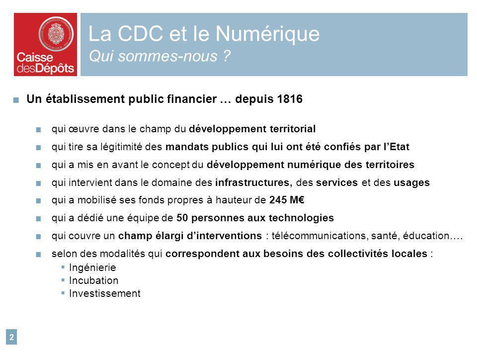 2 La CDC et le Numérique Qui sommes-nous ? Un établissement public financier … depuis 1816 qui œuvre dans le champ du développement territorial qui ti
