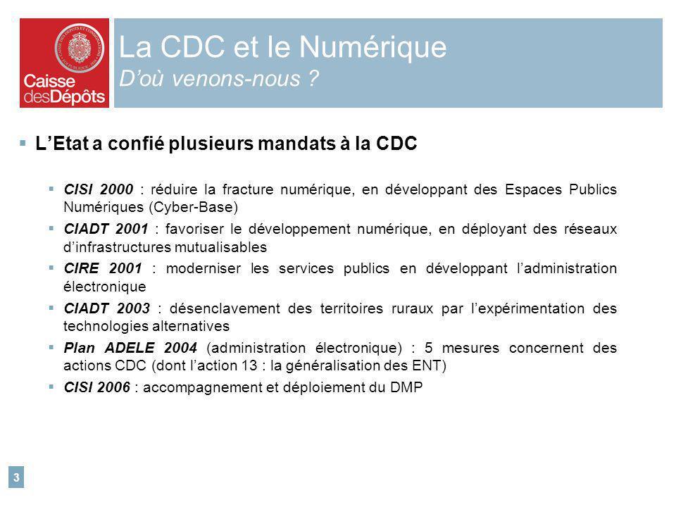 3 La CDC et le Numérique Doù venons-nous ? LEtat a confié plusieurs mandats à la CDC CISI 2000 : réduire la fracture numérique, en développant des Esp