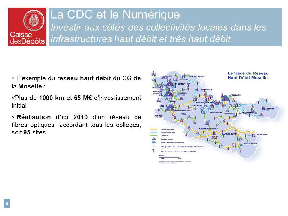 4 La CDC et le Numérique Investir aux côtés des collectivités locales dans les infrastructures haut débit et très haut débit Lexemple du réseau haut d