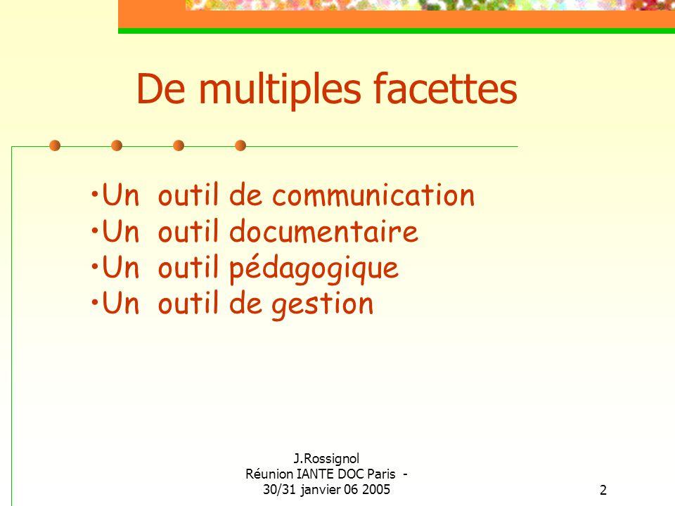 J.Rossignol Réunion IANTE DOC Paris - 30/31 janvier 06 20052 De multiples facettes Un outil de communication Un outil documentaire Un outil pédagogiqu