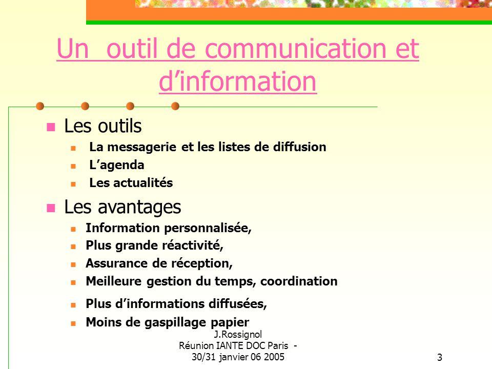 J.Rossignol Réunion IANTE DOC Paris - 30/31 janvier 06 20053 Un outil de communication et dinformation Les outils La messagerie et les listes de diffu