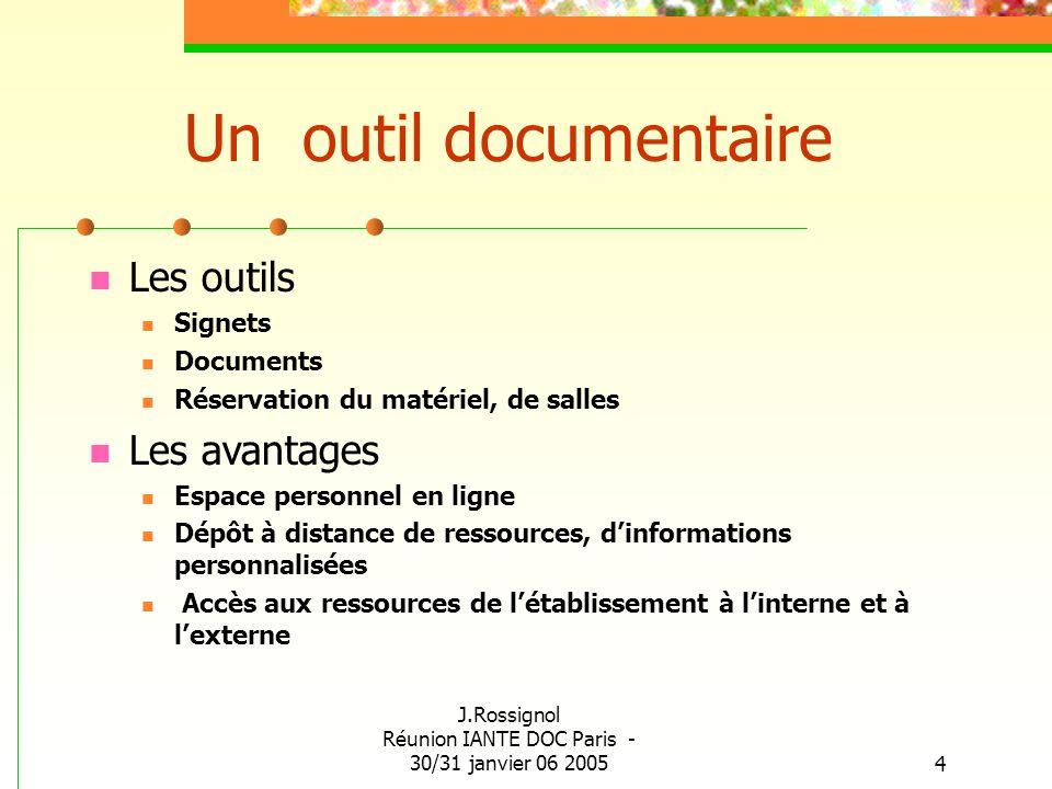 J.Rossignol Réunion IANTE DOC Paris - 30/31 janvier 06 20054 Un outil documentaire Les outils Signets Documents Réservation du matériel, de salles Les