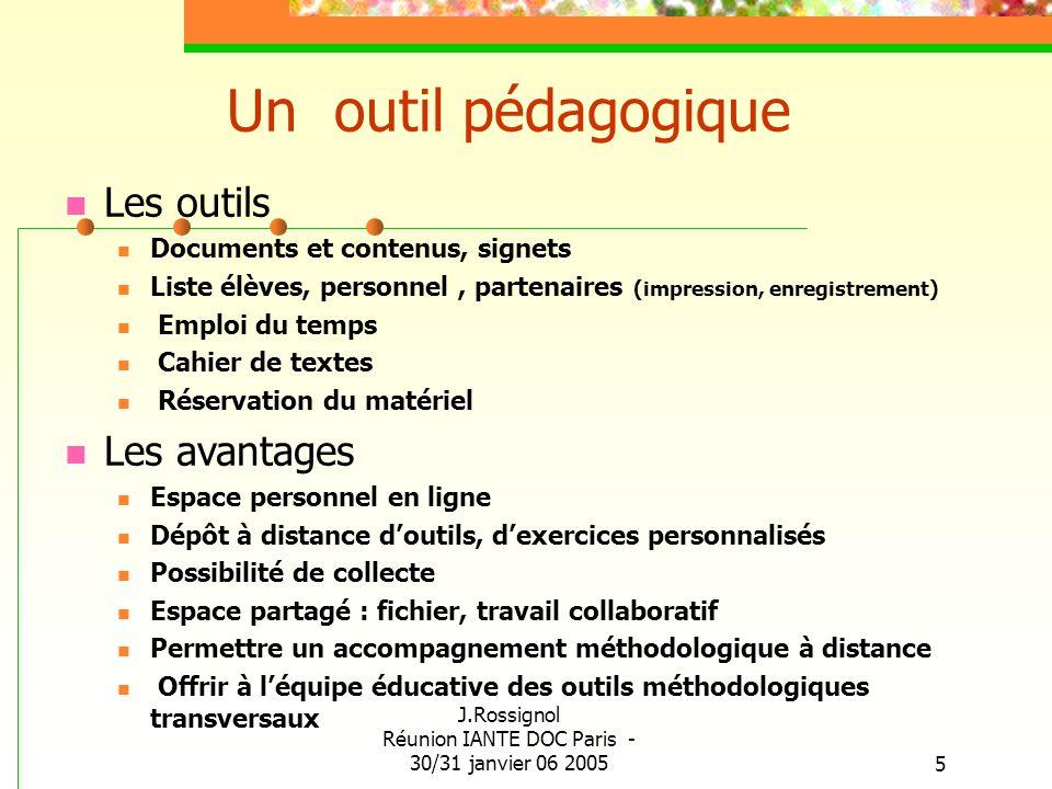 J.Rossignol Réunion IANTE DOC Paris - 30/31 janvier 06 20055 Un outil pédagogique Les outils Documents et contenus, signets Liste élèves, personnel, p