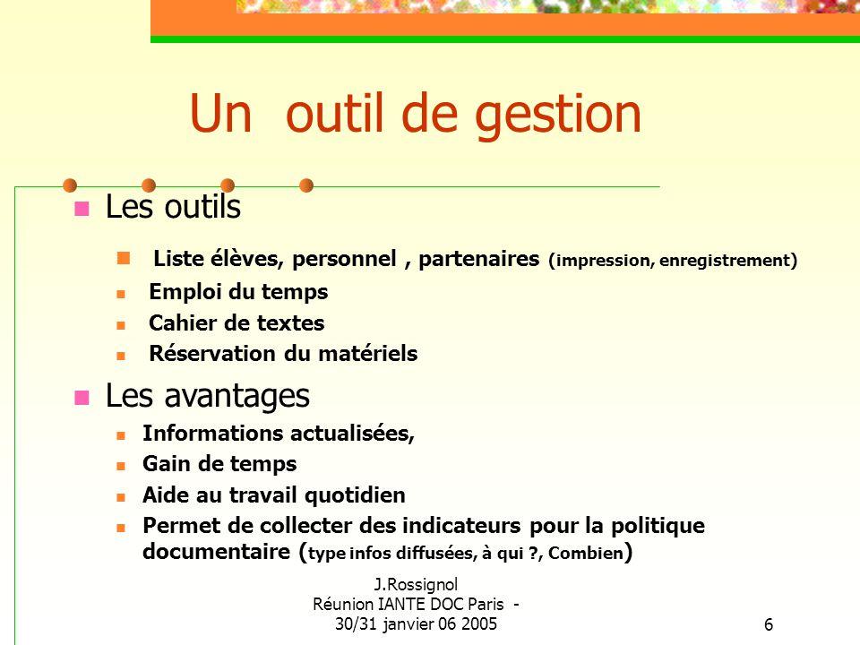 J.Rossignol Réunion IANTE DOC Paris - 30/31 janvier 06 20056 Un outil de gestion Les outils Liste élèves, personnel, partenaires (impression, enregist