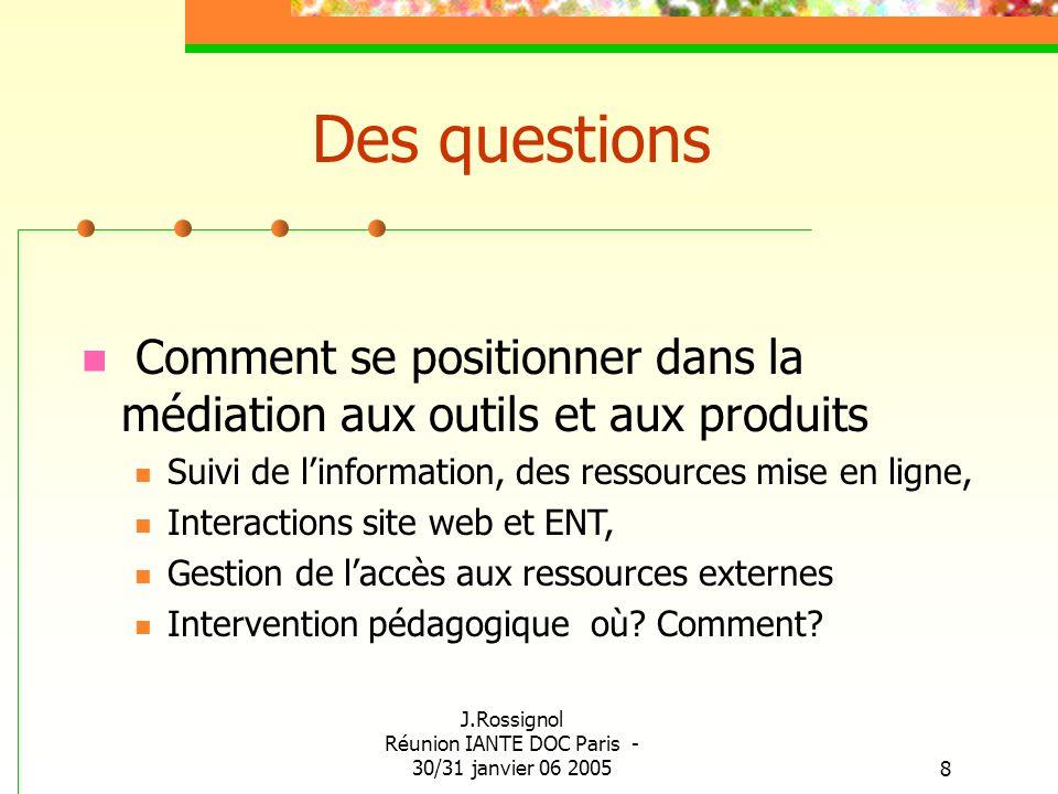 J.Rossignol Réunion IANTE DOC Paris - 30/31 janvier 06 20058 Des questions Comment se positionner dans la médiation aux outils et aux produits Suivi d