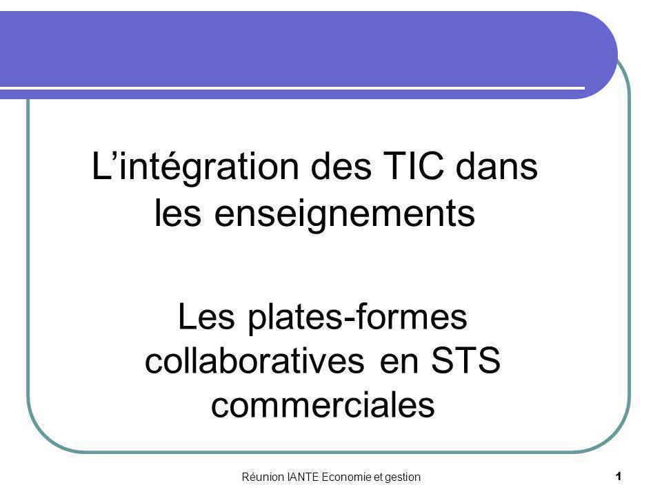Réunion IANTE Economie et gestion 1 Lintégration des TIC dans les enseignements Les plates-formes collaboratives en STS commerciales