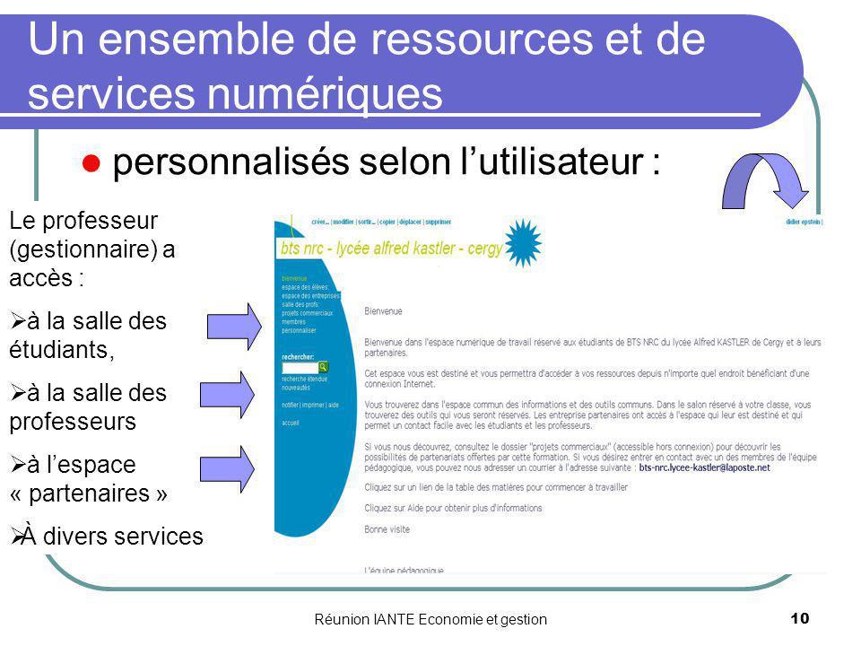 Réunion IANTE Economie et gestion10 Un ensemble de ressources et de services numériques personnalisés selon lutilisateur : Le professeur (gestionnaire