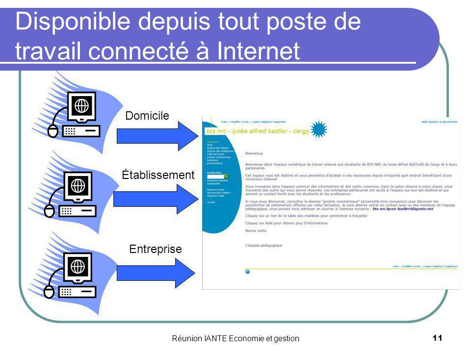 Réunion IANTE Economie et gestion11 Disponible depuis tout poste de travail connecté à Internet Domicile Établissement Entreprise