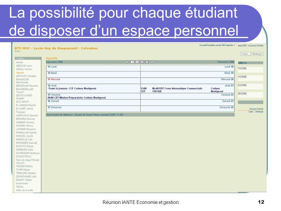 Réunion IANTE Economie et gestion12 La possibilité pour chaque étudiant de disposer dun espace personnel