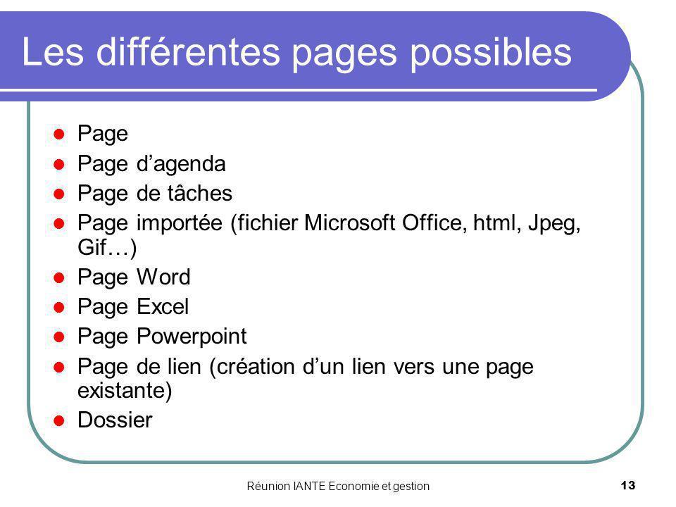 Réunion IANTE Economie et gestion13 Les différentes pages possibles Page Page dagenda Page de tâches Page importée (fichier Microsoft Office, html, Jp