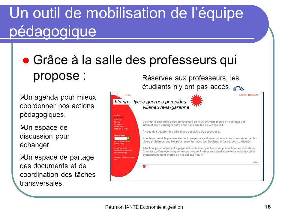 Réunion IANTE Economie et gestion18 Un outil de mobilisation de léquipe pédagogique Grâce à la salle des professeurs qui propose : Un agenda pour mieu